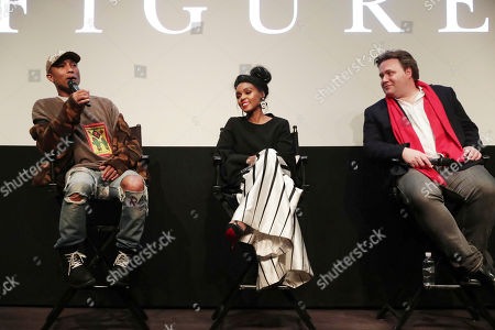 "Producer/Composer Pharrell Williams, Janelle Monae and Composer Ben Wallfisch seen at Twentieth Century Fox ""Hidden Figures"" Special Screening at the London West Hollywood on January, 04, 2017, in Los Angeles, CA"