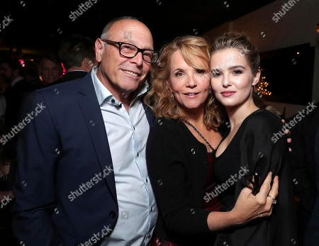 """Howard Deutch, from left, Lea Thompson, and Zoey Deutch attend Twentieth Century Fox's world premiere of """"Why Him?"""" at Regency Bruin Theater, in Westwood, Calif"""