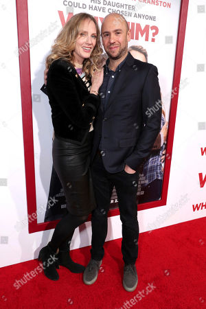 "Christina Kirk, left, and John Hamburg attend Twentieth Century Fox's world premiere of ""Why Him?"" at Regency Bruin Theater, in Westwood, Calif"