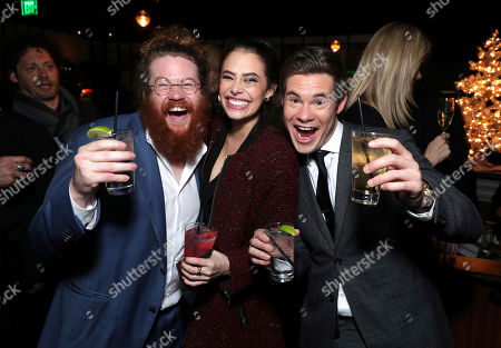 """Zack Pearlman, from left, Chloe Bridges, and Adam DeVine attend Twentieth Century Fox's world premiere of """"Why Him?"""" at Regency Bruin Theater, in Westwood, Calif"""