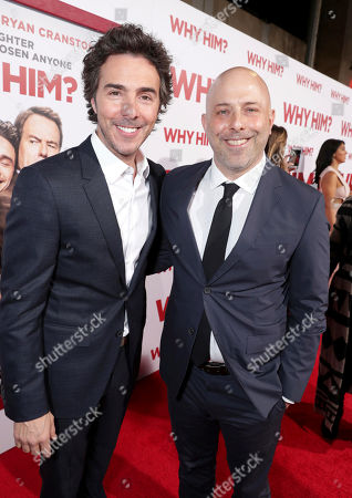 """Shawn Levy, left, and Ian Helfer attend Twentieth Century Fox's world premiere of """"Why Him?"""" at Regency Bruin Theater, in Westwood, Calif"""