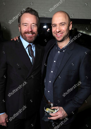 "Bryan Cranston, left, and John Hamburg attend Twentieth Century Fox's world premiere of ""Why Him?"" at Regency Bruin Theater, in Westwood, Calif"