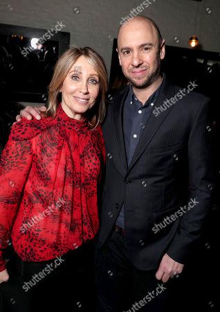 "Stacey Snider, Co-Chairman of Twentieth Century Fox, left, and John Hamburg attend Twentieth Century Fox's world premiere of ""Why Him?"" at Regency Bruin Theater, in Westwood, Calif"