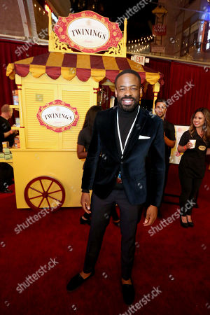 Chike Okonkwo at the Twinings tea cart at Disney's Beauty and the Beast premiere, in Los Angeles