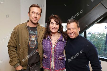 """Ryan Gosling, Producer Cynthia Sikes and Producer Andrew A. Kosove seen at Warner Bros """"Blade Runner 2049"""" Q & A at the Imax headquarters, in Los Angeles"""