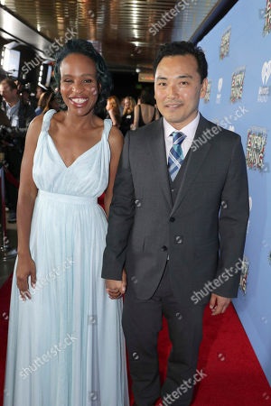 """Author Nicola Yoon and David Yoon seen at Warner Bros. Pictures and Metro-Goldwyn-Mayer Pictures """"Everything, Everything"""" Special VIP Screening, in Los Angeles"""