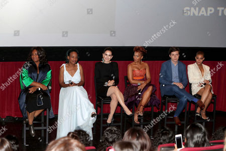"""Director Stella Meghie, Author Nicola Yoon, Ana de la Reguera, Anika Noni Rose, Nick Robinson and Amandla Stenberg seen at Warner Bros. Pictures and Metro-Goldwyn-Mayer Pictures """"Everything, Everything"""" Special VIP Screening, in Los Angeles"""