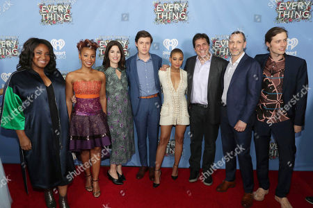 """Director Stella Meghie, Anika Noni Rose, Producer Elysa Koplovitz Dutton, Nick Robinson, Amandla Stenberg and Producer Leslie Morgenstein seen at Warner Bros. Pictures and Metro-Goldwyn-Mayer Pictures """"Everything, Everything"""" Special VIP Screening, in Los Angeles"""