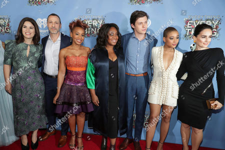 """Producer Elysa Koplovitz Dutton, Producer Leslie Morgenstein, Anika Noni Rose, Director Stella Meghie, Nick Robinson, Amandla Stenberg and Ana de la Reguera seen at Warner Bros. Pictures and Metro-Goldwyn-Mayer Pictures """"Everything, Everything"""" Special VIP Screening, in Los Angeles"""
