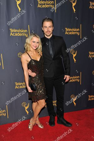 "Ekaterina Fedosova, left, and Derek Hough arrive at the Television Academy's ""Whose Dance Is It Anyway?"" event celebrating the art of choreography with an evening of dance created by renowned choreographers at the Saban Media Center on in the NoHo Arts District in Los Angeles"