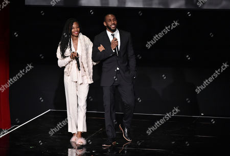 """Fatima Robinson, left, and Stephen """"tWitch"""" Boss speak at the Television Academy's """"Whose Dance Is It Anyway?"""" event celebrating the art of choreography with an evening of dance created by renowned choreographers at the Saban Media Center on in the NoHo Arts District in Los Angeles"""