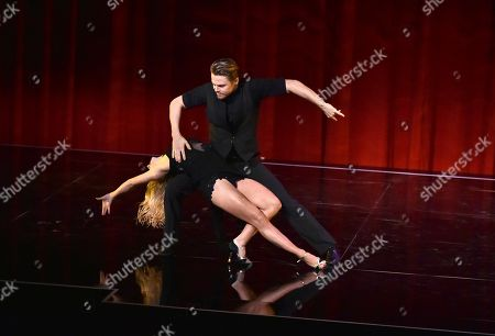 "Ekaterina Fedosova, left, and Derek Hough perform at the Television Academy's ""Whose Dance Is It Anyway?"" event celebrating the art of choreography with an evening of dance created by renowned choreographers at the Saban Media Center on in the NoHo Arts District in Los Angeles"