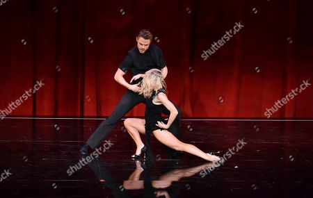 "Derek Hough, left and Ekaterina Fedosova perform at the Television Academy's ""Whose Dance Is It Anyway?"" event celebrating the art of choreography with an evening of dance created by renowned choreographers at the Saban Media Center on in the NoHo Arts District in Los Angeles"