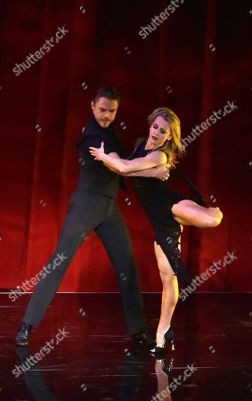 "Stock Picture of Derek Hough, left and Ekaterina Fedosova perform at the Television Academy's ""Whose Dance Is It Anyway?"" event celebrating the art of choreography with an evening of dance created by renowned choreographers at the Saban Media Center on in the NoHo Arts District in Los Angeles"