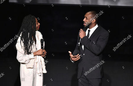 """Stock Image of Fatima Robinson, left, and Stephen """"tWitch"""" Boss speak at the Television Academy's """"Whose Dance Is It Anyway?"""" event celebrating the art of choreography with an evening of dance created by renowned choreographers at the Saban Media Center on in the NoHo Arts District in Los Angeles"""