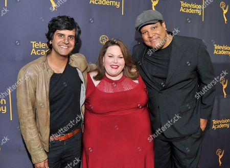 Siddhartha Khosla, from left, Chrissy Metz, and Chris Pierce arrive to take part in WORDS + MUSIC, presented at the Television Academy's Wolf Theatre at the Saban Media Center in North Hollywood, Calif