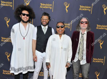 Stock Photo of Abraham Rounds, from left, Chris Bruce, Meshell Ndegeocello, and Jebin Bruni arrive to take part in WORDS + MUSIC, presented at the Television Academy's Wolf Theatre at the Saban Media Center in North Hollywood, Calif