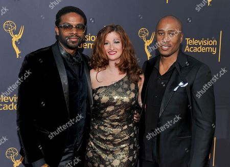 Adrian Younge, from left, Brooke deRosa, and Ali Shaheed Muhammad arrive to take part in WORDS + MUSIC, presented at the Television Academy's Wolf Theatre at the Saban Media Center in North Hollywood, Calif