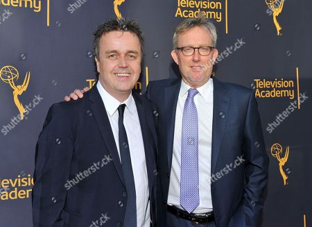Stock Photo of Sean Callery, left, and Alex Gansa arrive to take part in WORDS + MUSIC, presented at the Television Academy's Wolf Theatre at the Saban Media Center in North Hollywood, Calif