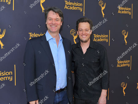 Kevin Murphy, left, and Nathan Barr arrive to take part in WORDS + MUSIC, presented at the Television Academy's Wolf Theatre at the Saban Media Center in North Hollywood, Calif