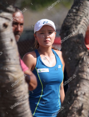 Su Jeong Jang of South Korea prepares to enter Center Court for the final of the WTA 125k Hawaii Open at Patsy T. Mink Central Oahu Regional Park in Waipahu, Hawaii - Michael Sullivan/CSM