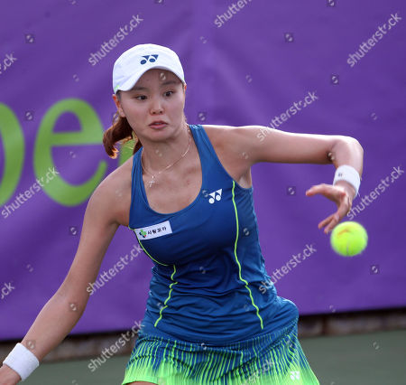 Stock Image of Su Jeong Jang returns volley on Center Court for the final of the WTA 125k Hawaii Open at Patsy T. Mink Central Oahu Regional Park in Waipahu, Hawaii - Michael Sullivan/CSM