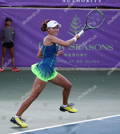 Stock Photo of Su Jeong Jang returns volley on Center Court for the final of the WTA 125k Hawaii Open at Patsy T. Mink Central Oahu Regional Park in Waipahu, Hawaii - Michael Sullivan/CSM