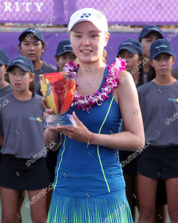 Runner-up Su Jeong Jang and her trophy on Center Court after the final of the WTA 125k Hawaii Open at Patsy T. Mink Central Oahu Regional Park in Waipahu, Hawaii - Michael Sullivan/CSM