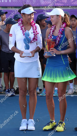 Winner Shuai Zhang and runner-up Su Jeong Jang on Center Court after the final of the WTA 125k Hawaii Open at Patsy T. Mink Central Oahu Regional Park in Waipahu, Hawaii - Michael Sullivan/CSM