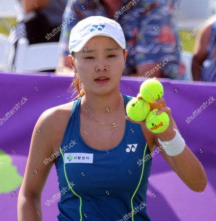 Su Jeong Jang on Center Court for the final of the WTA 125k Hawaii Open at Patsy T. Mink Central Oahu Regional Park in Waipahu, Hawaii - Michael Sullivan/CSM