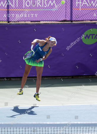 Su Jeong Jang serves in warm-ups on Center Court for the final of the WTA 125k Hawaii Open at Patsy T. Mink Central Oahu Regional Park in Waipahu, Hawaii - Michael Sullivan/CSM