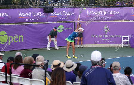Su Jeong Jang serves on Center Court for the final of the WTA 125k Hawaii Open at Patsy T. Mink Central Oahu Regional Park in Waipahu, Hawaii - Michael Sullivan/CSM