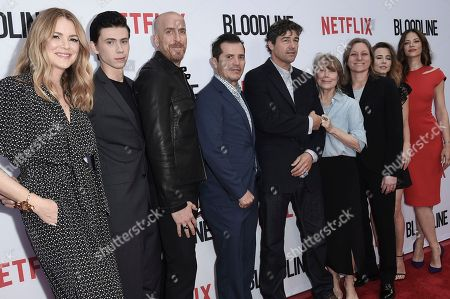 "Jacinda Barrett, from left, Owen Teague, Todd A. Kessler, John Leguizamo, Kyle Chandler, Sissy Spacek, Cindy Holland, Linda Cardellini and Hani Avital attend the ""Bloodline"" FYC event at ArcLight Cinemas Culver City, in Culver City, Calif"
