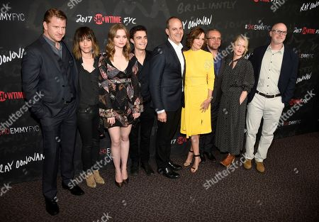 "Dash Mihok, from left, Katherine Moennig, Kerris Dorsey, Devon Bagby, David Nevins, president and CEO, Showtime Networks Inc., Embeth Davidtz, Eddie Marsan, Paula Malcomson and executive producer David Hollander arrive at a ""Ray Donovan"" For Your Consideration event at the Directors Guild of America Theater, in Los Angeles"