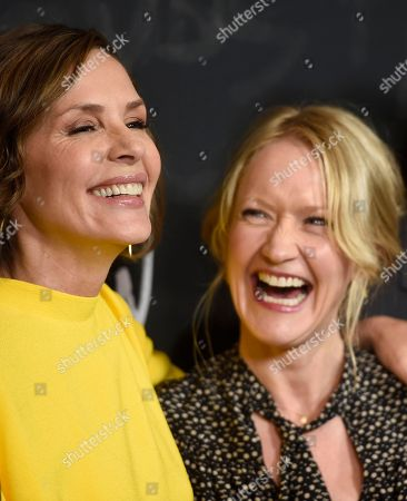 """Embeth Davidtz, left, and Paula Malcomson arrive at a """"Ray Donovan"""" For Your Consideration event at the Directors Guild of America Theater, in Los Angeles"""