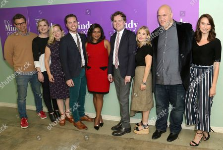 """Stock Picture of Charlie Grandy, from left, Mackenzie Dohr, Lang Fisher, Christopher Schleicher, Mindy Kaling, Matt Warburton, Miranda Berman, Guy Branum and Tracey Wigfield arrive at the """"The Mindy Project"""" FYC Event, in Los Angeles"""