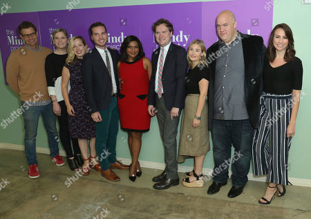 """Stock Image of Charlie Grandy, from left, Mackenzie Dohr, Lang Fisher, Christopher Schleicher, Mindy Kaling, Matt Warburton, Miranda Berman, Guy Branum and Tracey Wigfield arrive at the """"The Mindy Project"""" FYC Event, in Los Angeles"""