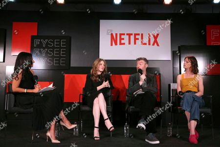 Laurie Segall, Annabel Jones, Charlie Brooker and Mackenzie Davis seen at the 'Black Mirror' panel Q&A at the FYSee exhibit space, in Los Angeles