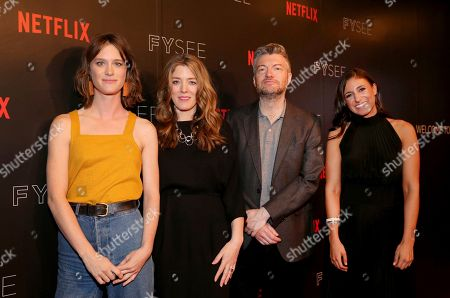 Mackenzie Davis, Annabel Jones, Charlie Brooker and Laurie Segall seen at the 'Black Mirror' panel Q&A at the FYSee exhibit space, in Los Angeles