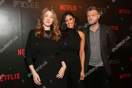 Annabel Jones, Laurie Segall and Charlie Brooker seen at the 'Black Mirror' panel Q&A at the FYSee exhibit space, in Los Angeles