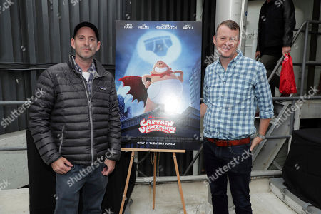Director David Soren and Producer Mark Swift seen at 'Captain Underpants: The First Epic Movie' Flag raising ceremony at the Capitol Records Building, in Los Angeles, CA