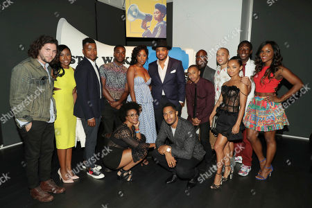 John Patrick Amedori, Nia Jervier, Marque Richardson, Brandon Black, Courtney Sauls, Ashley Blaine Featherson, Creator/Exec. Producer Justin Simien, Brandon P Bell, DeRon Horton, Director Barry Jenkins, Jemar Michael, Logan Browning, Jeremy Tardy and Antoinette Robertson seen at 'Dear White People' Netflix FYSee exhibit space with a Q&A, in Los Angeles