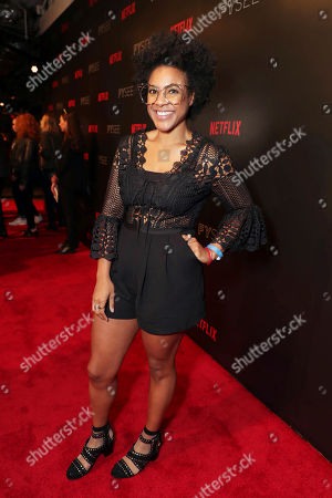 Courtney Sauls seen at 'Dear White People' Netflix FYSee exhibit space with a Q&A, in Los Angeles