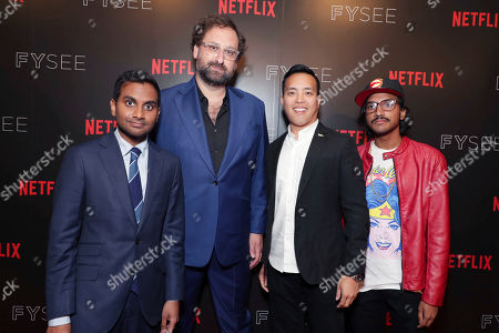 Aziz Ansari, Eric Wareheim, Alan Yang and Aniz Ansari seen at 'Master of None' Netflix FYSee exhibit space with a Q&A at the Samuel Goldwyn Theater, in Los Angeles