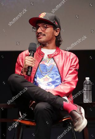 Aniz Ansari seen at 'Master of None' Netflix FYSee exhibit space with a Q&A at the Samuel Goldwyn Theater, in Los Angeles