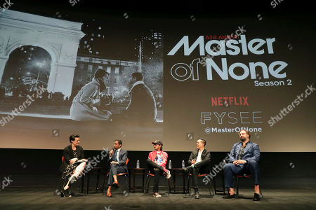Moderator Stacey Wilson Hunt, Aziz Ansari, Aniz Ansari, Alan Yang and Eric Wareheim seen at 'Master of None' Netflix FYSee exhibit space with a Q&A at the Samuel Goldwyn Theater, in Los Angeles