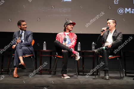 Aziz Ansari, Aniz Ansari and Alan Yang seen at 'Master of None' Netflix FYSee exhibit space with a Q&A at the Samuel Goldwyn Theater, in Los Angeles