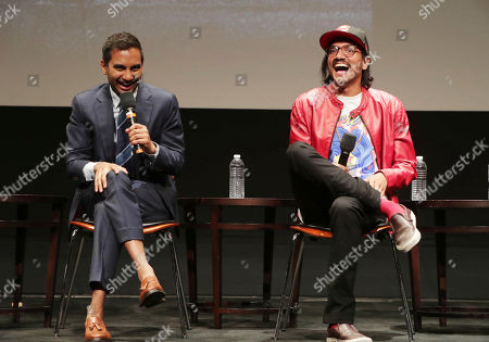 Aziz Ansari and Aniz Ansari seen at 'Master of None' Netflix FYSee exhibit space with a Q&A at the Samuel Goldwyn Theater, in Los Angeles