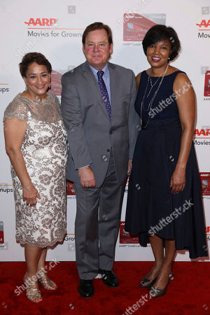 Jo Ann Jenkins, CEO of AARP, from left, Joel Murray and Nichelle Evans, general manager, Travel & Affinity Partnership, CHASE Card Services, attend AARP's 16th Annual Movies for Grownups Awards at the Beverly Wilshire Hotel, in Beverly Hills, Calif