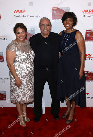 Jo Ann Jenkins, CEO of AARP, from left, Edward James Olmos and Nichelle Evans, general manager, Travel & Affinity Partnership, CHASE Card Services, attend AARP's 16th Annual Movies for Grownups Awards at the Beverly Wilshire Hotel, in Los Angeles